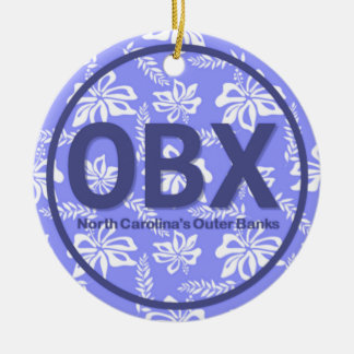 OBX Outer Banks NC Floral Ornament