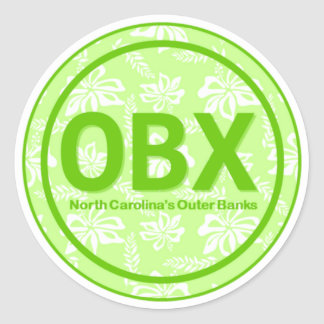 OBX Outer Banks NC Green Flower Stickers