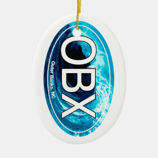 OBX Outer Banks Wave Oval Ceramic Ornament