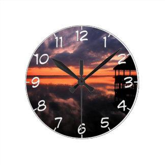 OBX Sunset Round Clock