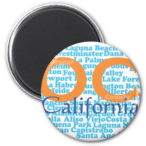 OC - Condado de Orange, California Imán Redondo 5 Cm