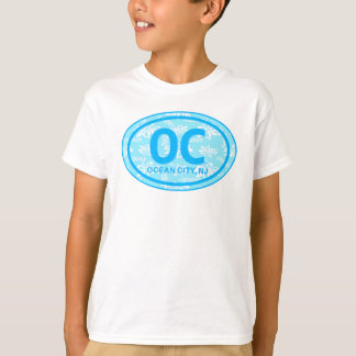 OC Ocean City NJ Blue Floral Beach Tag Shirt