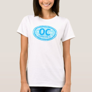 OC Ocean City NJ Blue Floral Beach Tag T-Shirt