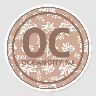 Beach Themed OC Ocean City NJ Brown Beach Flower Stickers