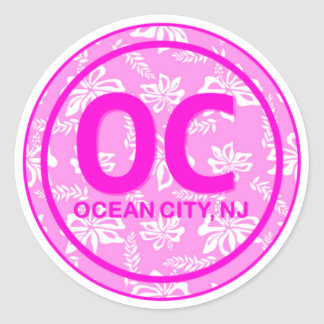 OC Ocean City NJ New Jersey Pink Beach Flower Classic Round Sticker