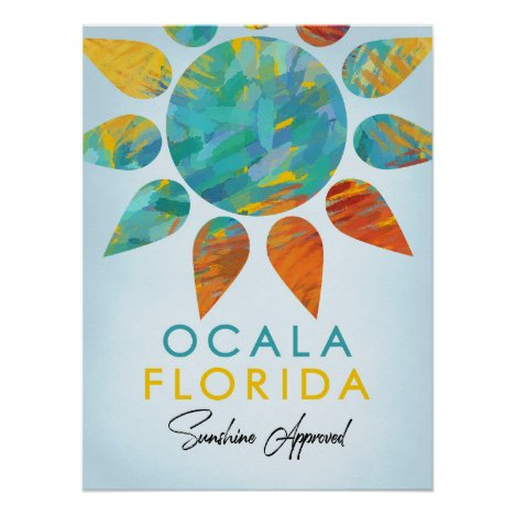 Ocala Florida Sunshine Travel Poster