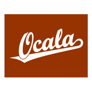 Ocala script logo in white postcard