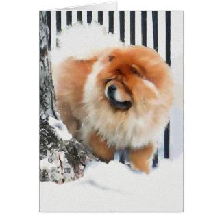 OCASIÓN EN el perro chino del heARTdog de la NIEVE Felicitación