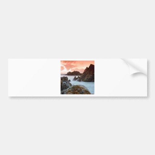 Ocaso surrealista Suráfrica de la playa Etiqueta De Parachoque