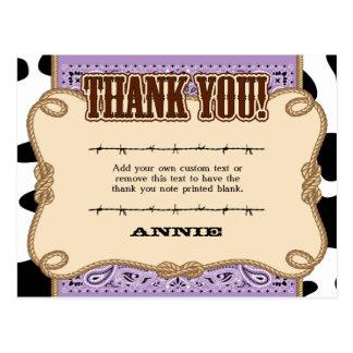 Occidentales púrpuras le agradecen las tarjetas tarjeta postal