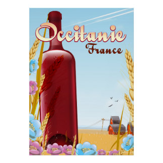 Occitanie France farming landscape poster