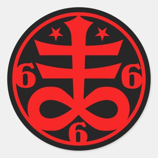 Occult Goth Satanic Cross Symbol Classic Round Sticker Zazzle