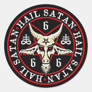 Occult Hail Satan Baphomet Goat in Pentagram Classic Round Sticker