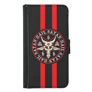 Occult Hail Satan Baphomet Goat in Pentagram Wallet Phone Case For Samsung Galaxy S5