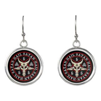 Occult Hail Satan Black Magic Baphomet Earrings