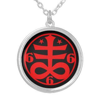 Occult Satanic Cross Symbol Goth Round Pendant Necklace
