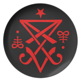 Occult Sigil of Lucifer Satanic Party Plates