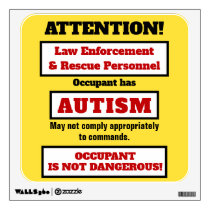 Occupant has Autism Caution Wall Decal