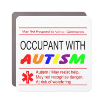 Occupant With Autism Car Magnet