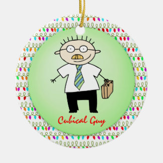 Occupation Cubical Office Guy Funny  Personalized Christmas Ornament