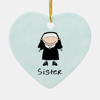 Occupation Nun Religious Vocation  Personalized Double-Sided Heart Ceramic Christmas Ornament
