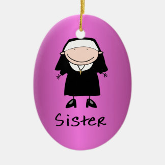 Occupation Nun Religious Vocation  Personalized Double-Sided Oval Ceramic Christmas Ornament