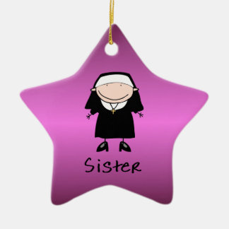 Occupation Nun Religious Vocation  Personalized Double-Sided Star Ceramic Christmas Ornament