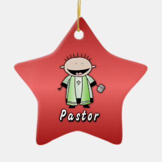 Occupation Pastor Religious Clergy  Personalized Double-Sided Star Ceramic Christmas Ornament