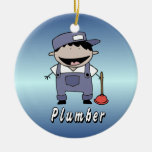 Occupation Plumber Custom Personalized Double-Sided Ceramic Round Christmas Ornament