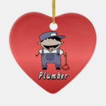 Occupation Plumber Custom Personalized Double-Sided Heart Ceramic Christmas Ornament
