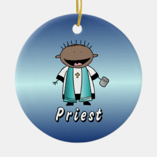 Occupation Priest Religious Clergy  Personalized Double-Sided Ceramic Round Christmas Ornament