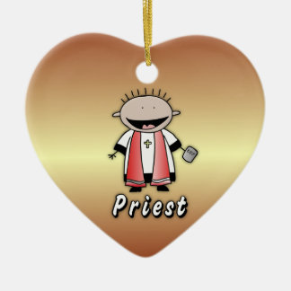 Occupation Priest Religious Clergy  Personalized Double-Sided Heart Ceramic Christmas Ornament
