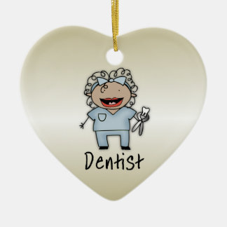 Occupation Woman Dentist Professional Personalized Double-Sided Heart Ceramic Christmas Ornament