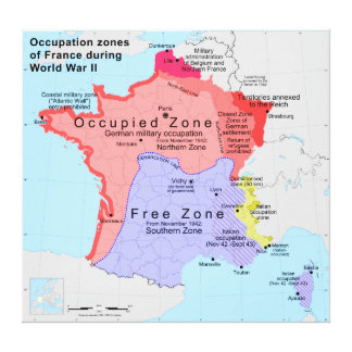 Occupation Zones of France During World War II Canvas Print