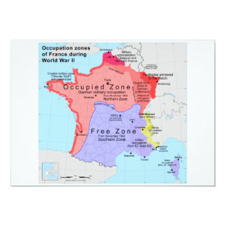 Occupation Zones of France During World War II Card
