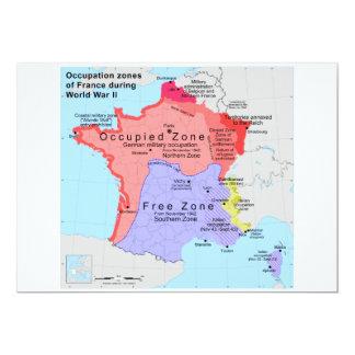Occupation Zones of France During World War II Custom Invitation