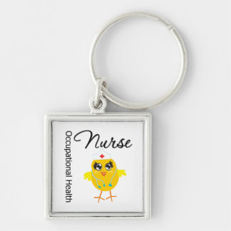 Occupational Health Nurse Chick v1 Silver-Colored Square Keychain
