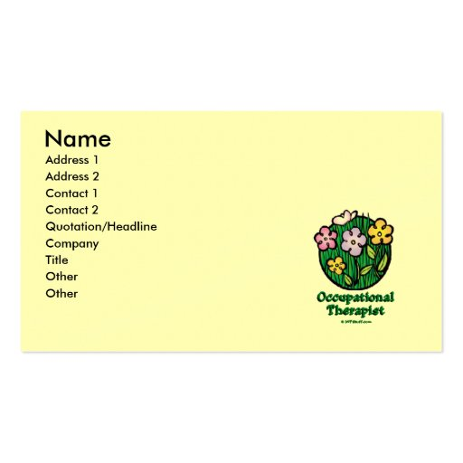 Occupational Therapist Blooms 2 Business Card