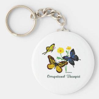 Occupational Therapist Butterflies Basic Round Button Keychain