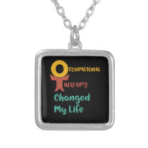 Occupational Therapy OT Therapist Silver Plated Necklace