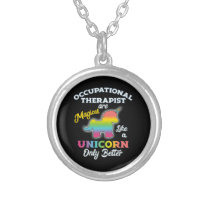 Occupational Therapy Unicorn OT Therapist Silver Plated Necklace