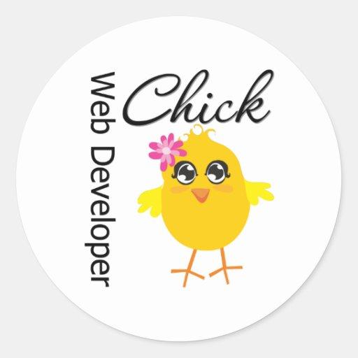 Occupations Chick Web Developer Round Stickers