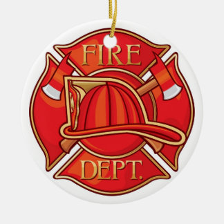 Occupations - Fire Fighter - SRF Double-Sided Ceramic Round Christmas Ornament