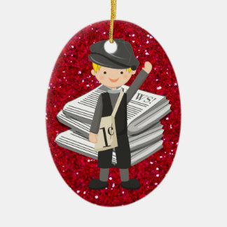 Occupations - Newspaper - SRF Double-Sided Oval Ceramic Christmas Ornament