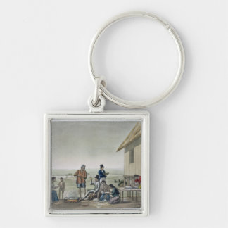 Occupations of the Agagna people, Mariana Islands, Silver-Colored Square Keychain