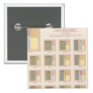 Occupations, School Attendance, US Lithograph 2 Inch Square Button