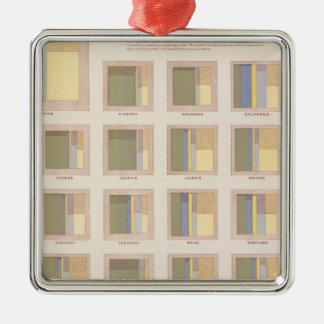 Occupations, School Attendance, US Lithograph Square Metal Christmas Ornament