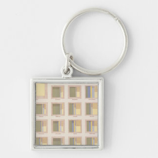 Occupations, School Attendance, US Lithograph Silver-Colored Square Keychain