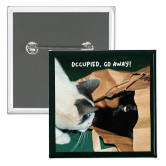 Occupied, Go Away! Funny Cats Buttons