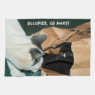 Occupied, Go Away! Funny Cats Kitchen Towels